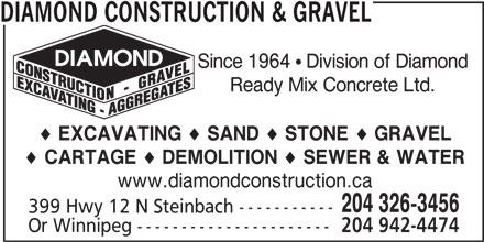 Diamond Construction & Gravel (204-326-3456) - Annonce illustrée======= -