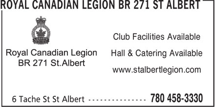Royal Canadian Legion (780-458-3330) - Display Ad - Club Facilities Available Hall & Catering Available www.stalbertlegion.com