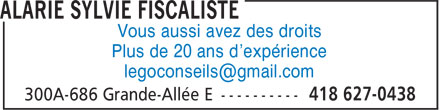 Sylvie Alarie fiscaliste (418-627-0438) - Annonce illustrée======= - Vous aussi avez des droits Plus de 20 ans d'expérience