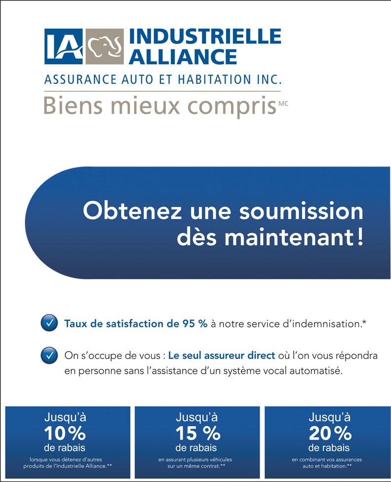 Industrielle Alliance Assurance Auto et Habitation (418-650-4700) - Annonce illustrée======= -