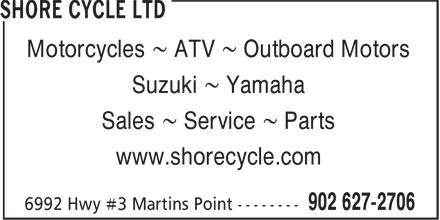 Shore Cycle (902-627-2706) - Display Ad - Motorcycles ~ ATV ~ Outboard Motors Suzuki ~ Yamaha Sales ~ Service ~ Parts www.shorecycle.com