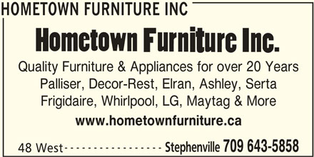 Hometown furniture inc stephenville nl 48 west st for Hometown furniture stephenville nl