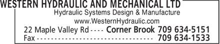 Western Hydraulic And Mechanical Ltd (709-634-5151) - Annonce illustrée======= - Hydraulic Systems Design & Manufacture www.WesternHydraulic.com