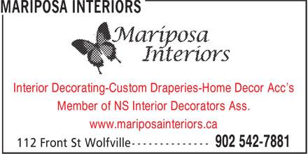 Mariposa Interiors (902-542-7881) - Display Ad -