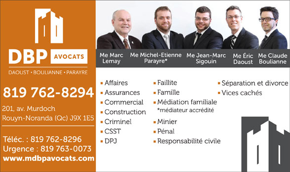 Daoust Boulianne Parayre Avocats (819-762-8294) - Display Ad -