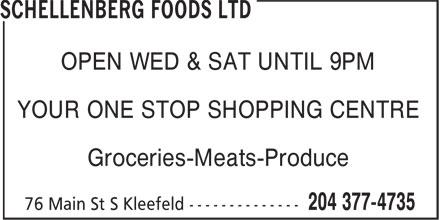 Schellenberg Foods Ltd (204-377-4735) - Annonce illustrée======= -