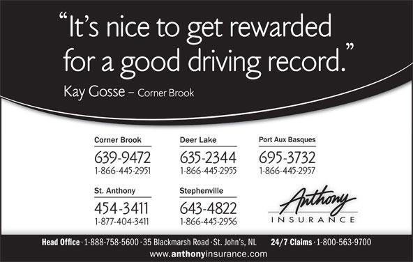 Anthony Insurance Inc (709-639-9472) - Display Ad -