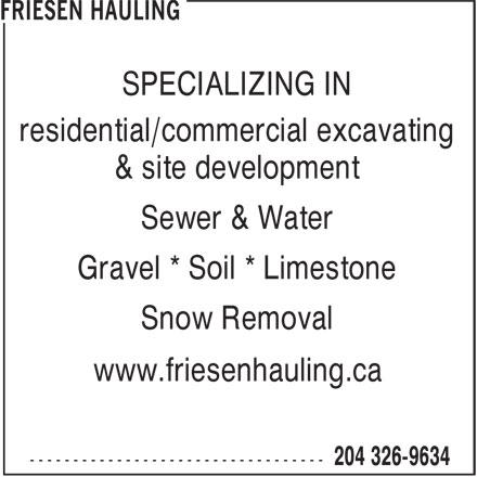 Friesen Hauling (204-326-9634) - Annonce illustrée======= -