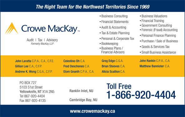 Crowe MacKay LLP (867-920-4404) - Display Ad - The Right Team for the Northwest Territories Since 1969 Business Valuations Business Consulting Financial Training Financial Statements Government Consulting Forensic (Fraud) Accounting Tax & Estate Planning Personal Finance Planning Personal & Corporate Tax Audit Tax Advisory Purchase / Sale of Business Formerly MacKay LLP Bookkeeping Goods & Services Tax Business Plans / Financial Advisors Small Business Assistance John Rankin C.P.A., C.A. Greg Edge Audit & Accounting C.G.A. John Laratta C.P.A., C.A., C.F.E. Celestino Oh C.A. Matthew Bannister C.A. Brian Steeves C.A. Fred Deschenes C.A. Gillian Lee C.A., C.F.P. Andrew K. Wong C.G.A., C.F.P. Elom Gnanih C.P.A., C.A. Alicia Scallion C.A. PO BOX 727 5103 51st Street Toll Free Ranklin Inlet, NU Yellowknife, NT X1A 2N5 Tel 867-920-4404 1-866-920-4404 Cambridge Bay, NU Fax 867-920-4135 www.crowemackay.ca