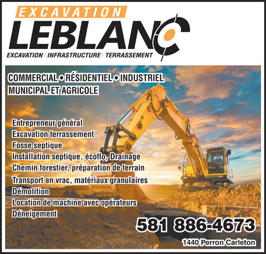 Excavation Leblanc Inc (418-364-7515) - Display Ad -
