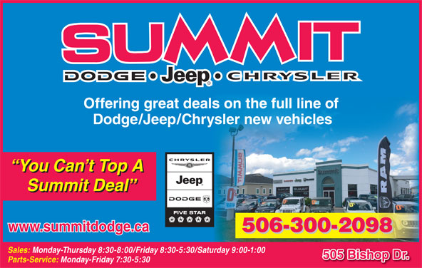 Summit Dodge (506-454-3634) - Display Ad - Offering great deals on the full line of Dodge/Jeep/Chrysler new vehicles You Can t Top A Summit Deal www.summitdodge.ca 506-300-2098 Sales: Monday-Thursday 8:30-8:00/Friday 8:30-5:30/Saturday 9:00-1:00 505 Bishop Dr. Parts-Service: Monday-Friday 7:30-5:30