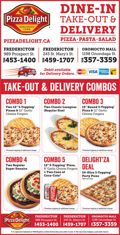 Pizza Delight (506-459-1707) - Annonce illustrée======= -