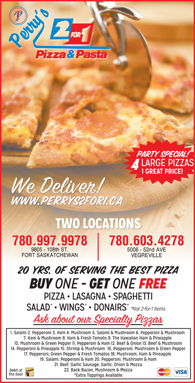 Perry's 2 For 1 Pizza & Pasta (780-998-9988) - Display Ad - 780.603.4278780.997.9978 780.603.4278780.997.9978