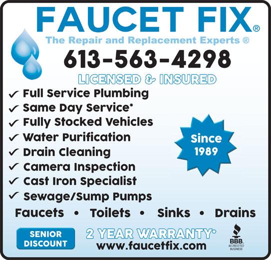 Faucet Fix (613-563-4298) - Display Ad -