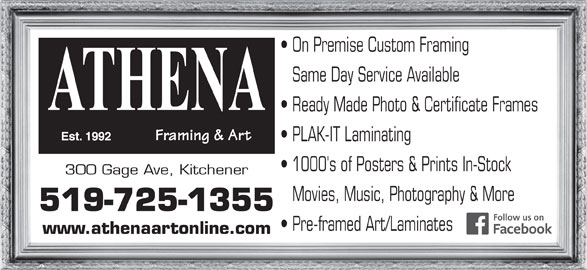 Athena Framing Amp Art 300 Gage Ave Kitchener On