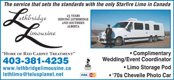 Lethbridge Limousine (1989) Ltd (403-381-4235) - Display Ad -