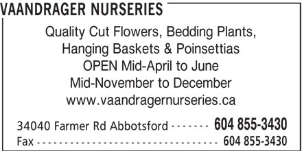 Vaandrager Nurseries (604-855-3430) - Display Ad - Quality Cut Flowers, Bedding Plants, Hanging Baskets & Poinsettias OPEN Mid-April to June Mid-November to December www.vaandragernurseries.ca ------- 604 855-3430 34040 Farmer Rd Abbotsford 604 855-3430 Fax --------------------------------- VAANDRAGER NURSERIES