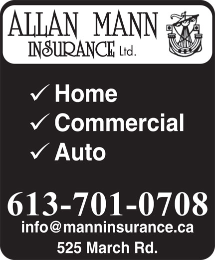 Allan Mann Insurance (613-592-6484) - Display Ad - Ltd. Home Commercial Auto 525 March Rd.