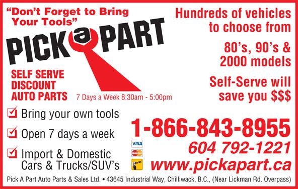 Ads Pick-A-Part Auto Parts & Sales