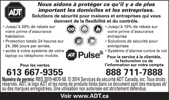 ADT Security Services Canada (1-888-253-7888) - Display Ad -