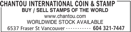 Chantou International Coin & Stamp (604-321-7447) - Annonce illustrée======= - CHANTOU INTERNATIONAL COIN & STAMP BUY / SELL STAMPS OF THE WORLD www.chantou.com WORLDWIDE STOCK AVAILABLE ----------- 604 321-7447 6537 Fraser St Vancouver CHANTOU INTERNATIONAL COIN & STAMP BUY / SELL STAMPS OF THE WORLD www.chantou.com WORLDWIDE STOCK AVAILABLE ----------- 604 321-7447 6537 Fraser St Vancouver