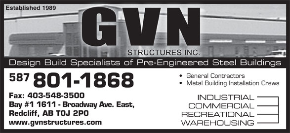 G V N Structures Inc (403-548-3100) - Display Ad -