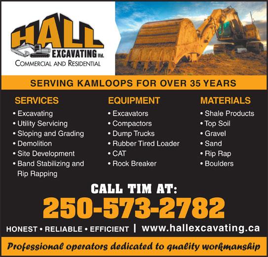 Hall Excavating Ltd (250-573-2782) - Annonce illustrée======= -