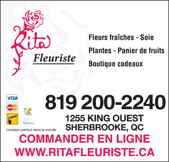 Rita Fleuriste Inc (819-563-4212) - Annonce illustrée======= - Livraison partout dans le monde Plantes - Panier de fruits Fleurs fraîches - Soie Boutique cadeaux