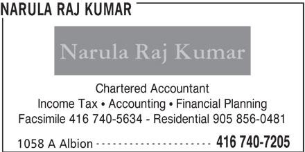 Narula Raj Kumar (416-740-7205) - Display Ad - NARULA RAJ KUMAR Chartered Accountant Income Tax   Accounting   Financial Planning Facsimile 416 740-5634 - Residential 905 856-0481 --------------------- 416 740-7205 1058 A Albion
