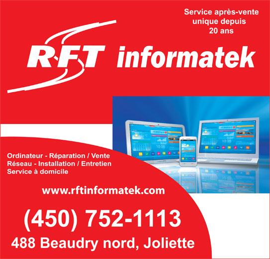 RFT Informatek Inc (450-752-1113) - Annonce illustrée======= -