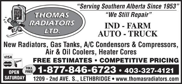 Thomas Radiators Ltd (403-327-4121) - Annonce illustrée======= -