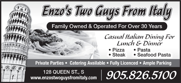Enzo's Two Guys From Italy (905-826-5100) - Annonce illustrée======= -