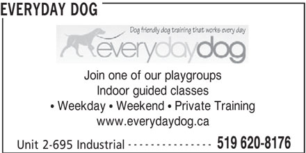 Everyday Dog (519-620-8176) - Display Ad - 519 620-8176 Unit 2-695 Industrial --------------- Join one of our playgroups EVERYDAY DOG Indoor guided classes  Weekday  Weekend  Private Training www.everydaydog.ca