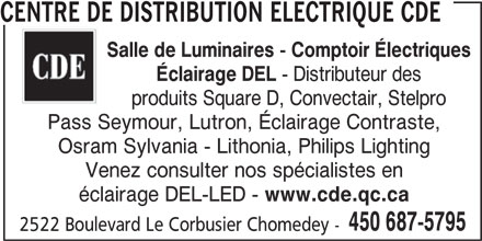 Centre de Distribution Electrique CDE (450-687-5795) - Display Ad -