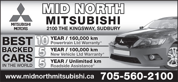 Mid North Mitsubishi (705-560-2100) - Display Ad - MID NORTH MITSUBISHI 2100 THE KINGSWAY, SUDBURY YEAR / 160,000 km Powertrain Ltd Warranty 10 BEST YEAR / 100,000 km BACKED New Vehicle Ltd Warranty CARS YEAR / Unlimited km IN THE WORLD Roadside Assistance www.midnorthmitsubishi.ca 705-560-2100