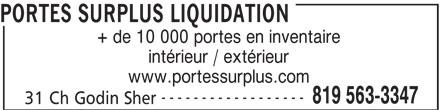 Portes surplus liquidation sherbrooke qc 31 ch godin for Porte fenetre futura laval