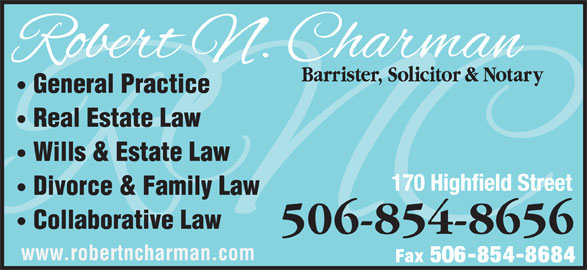 Charman Robert N (506-854-8656) - Display Ad -
