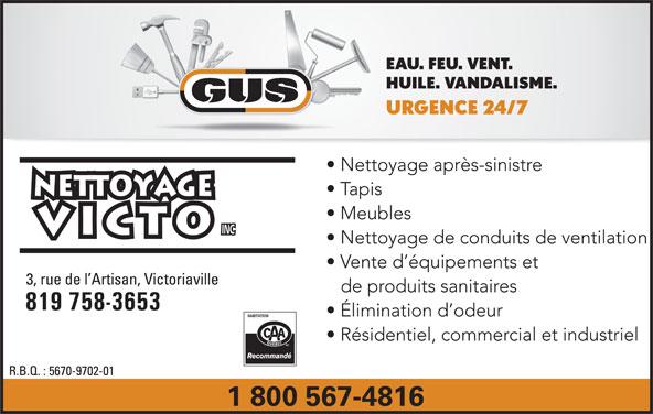 Nettoyage Victo Inc/GUS (819-758-3653) - Annonce illustrée======= -