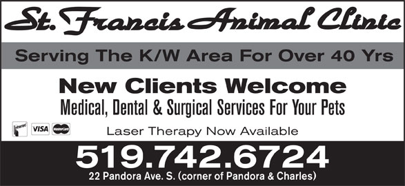 St Francis Animal Clinic (519-742-6724) - Display Ad - Serving The K/W Area For Over 40 Yrs New Clients Welcome Laser Therapy Now Available 519.742.6724 22 Pandora Ave. S. (corner of Pandora & Charles) Medical, Dental & Surgical Services For Your Pets