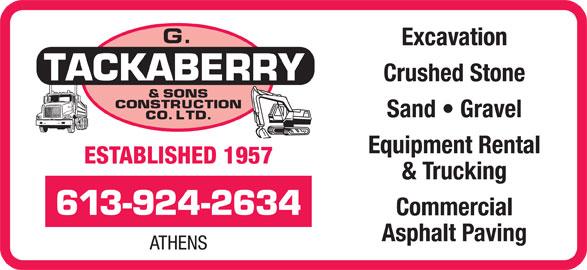 Tackaberry G & Sons Construction Co Ltd (613-924-2634) - Annonce illustrée======= -