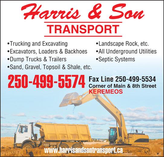 Harris & Son Transport (250-499-5574) - Display Ad -