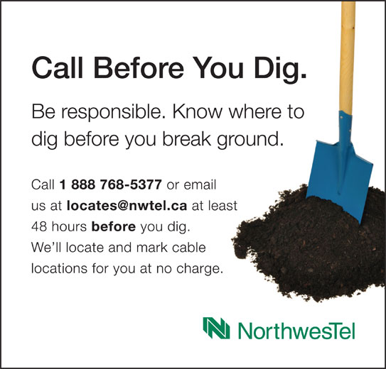 Call Before You Dig (1-888-768-5377) - Annonce illustrée======= -