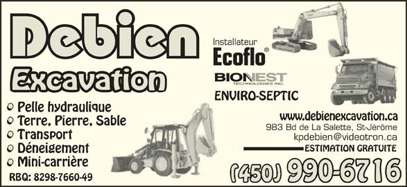 Debien Excavation (450-438-6108) - Annonce illustrée======= -