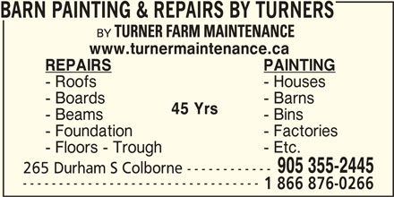 Barn Painting & Repairs By Turners (905-355-2445) - Annonce illustrée======= -