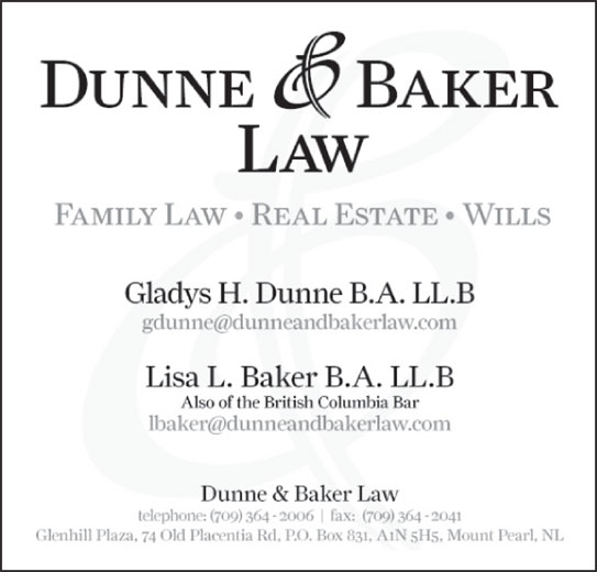 Dunne and Baker Law (709-364-2006) - Display Ad -