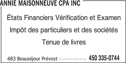 Annie Maisonneuve CPA Inc (450-335-0744) - Annonce illustrée======= -