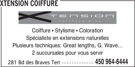 Xtension Coiffure (450-964-6444) - Annonce illustrée======= -
