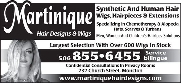 Martinique Hair Designs & Wigs (506-855-6455) - Annonce illustrée======= -