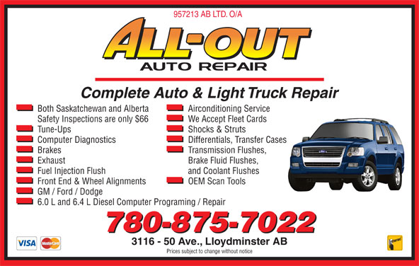 Diesel Fuel Prices Near Me >> All Out Auto Repair - Opening Hours - 3116 50 Ave, Lloydminster, AB