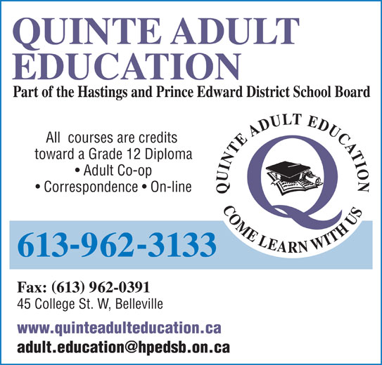 Will order adult area learning quinte that